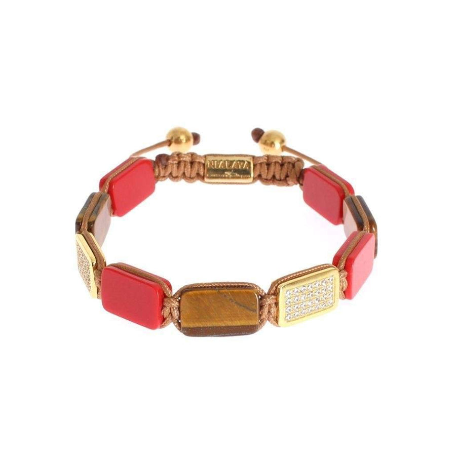 CZ Tiger Eye Coral Gold 925 Bracelet - Men - Jewelry - Bracelets - Nialaya | Gethuda Fashion