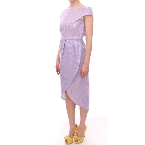 Purple Cap Sleeve Below Knee Sheath Dress - Women - Apparel - Dresses - Casual - Licia Florio | Gethuda Fashion