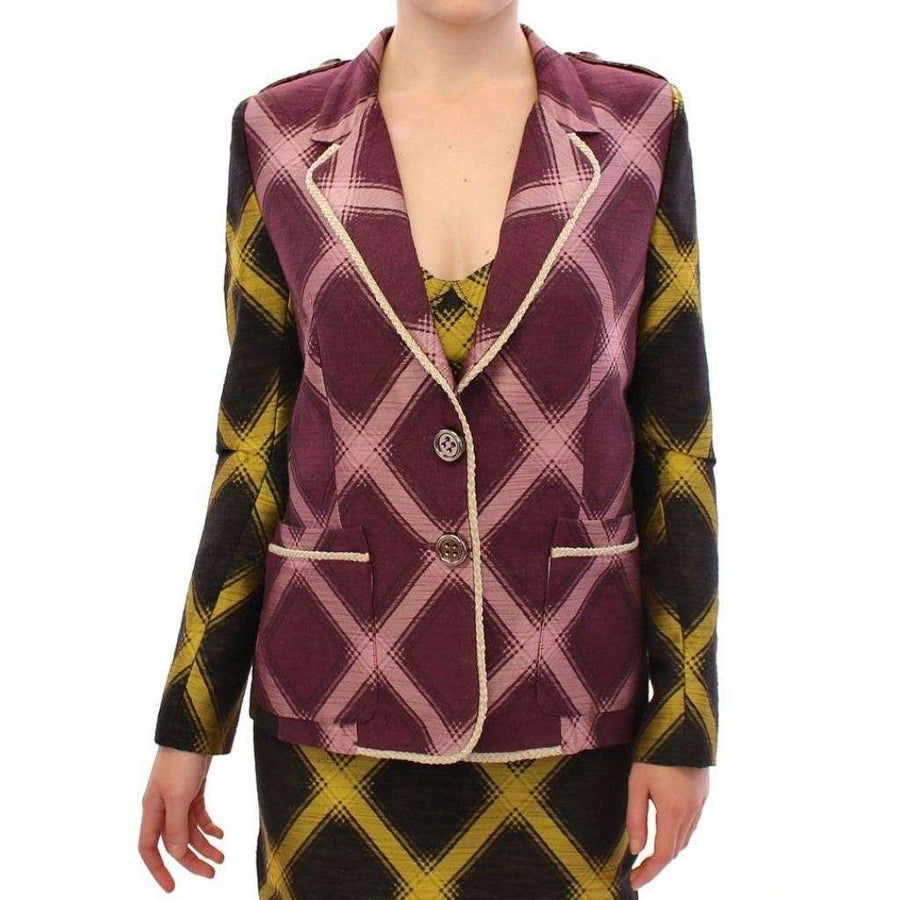 Purple checkered blazer jacket - Women - Apparel - Suits - Classic - House of Holland | Gethuda Fashion