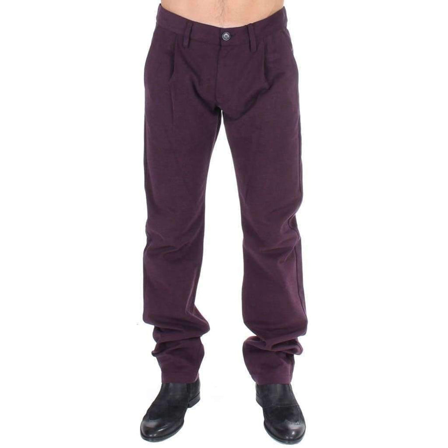 Purple Cotton Straight Fit Casual Pants - Men - Apparel - Trousers - GF Ferre | Gethuda Fashion