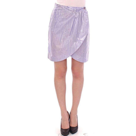 Purple Viscose Above-Knee Wrap Skirt - Women - Apparel - Skirts - Knee Length - Licia Florio | Gethuda Fashion