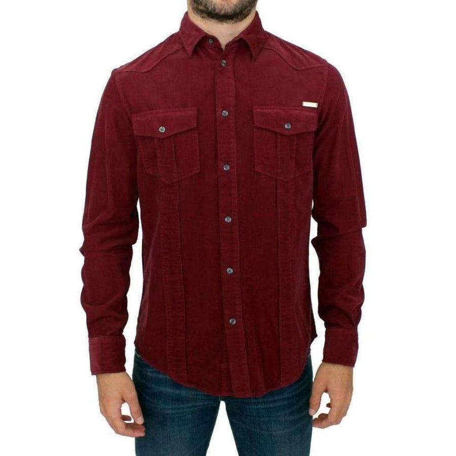 Red Button Front Cotton Casual Shirt - Men - Apparel - Shirts - Dress Shirts - GF Ferre | Gethuda Fashion