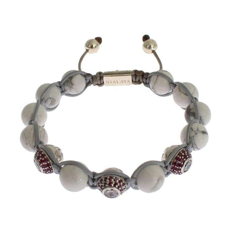 Red CZ Howlite Sterling 925 Silver Bracelet - Women - Jewelry - Bracelets - Nialaya | Gethuda Fashion