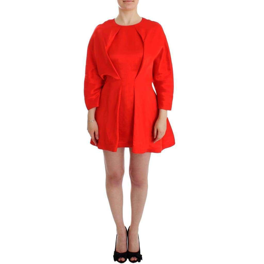 Red Mini Linen 3/4 Sleeve Sheath Dress - Women - Apparel - Dresses - Casual - Fyodor Golan | Gethuda Fashion