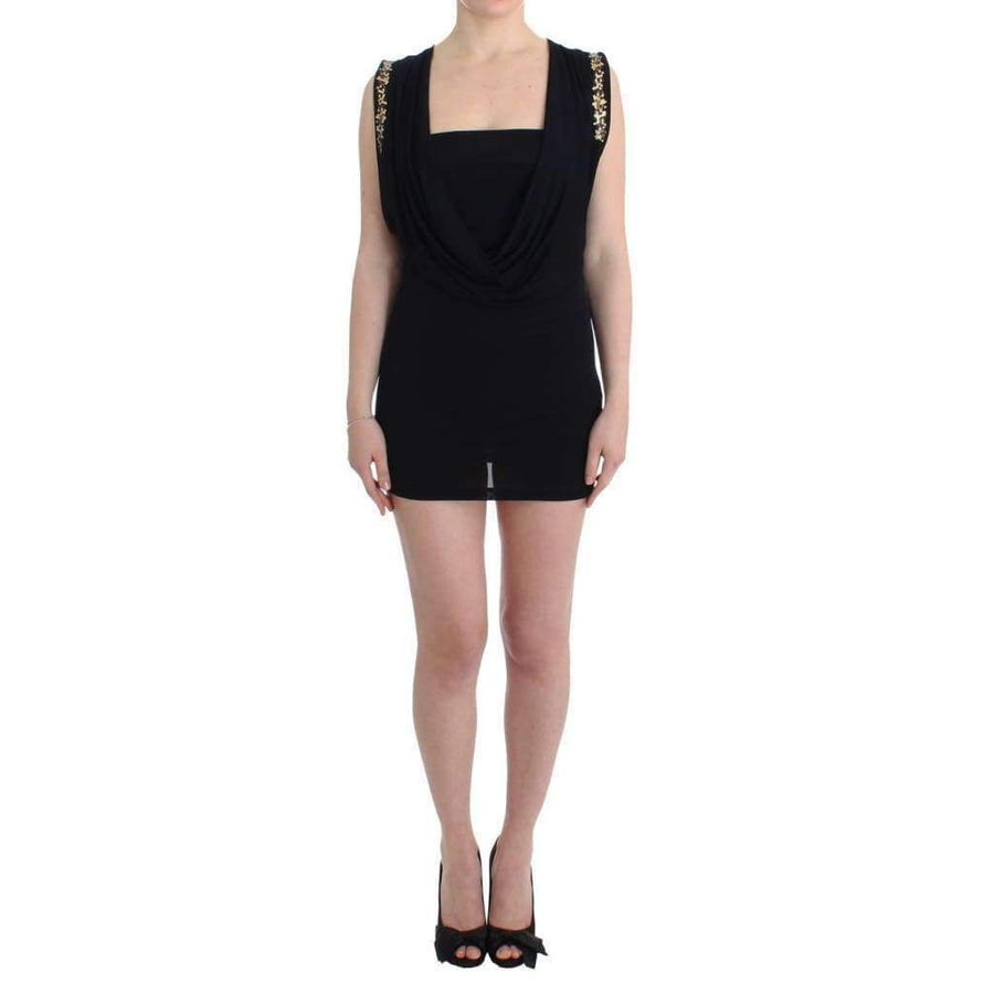 Black Embellished Jersey Mini Sheath Short Dress - Women - Apparel - Dresses - Casual - Roccobarocco | Gethuda Fashion