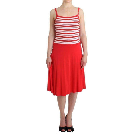 Red striped jersey A-line dress