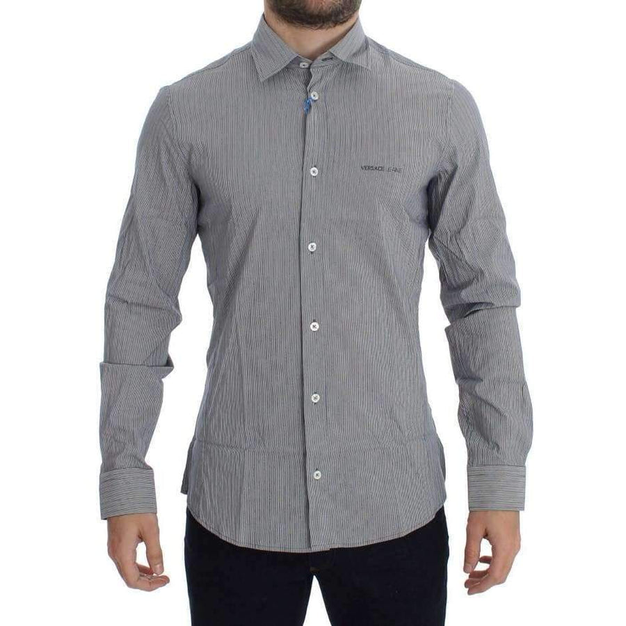 Gray Striped Slim Fit Cotton Shirt - Men - Apparel - Shirts - Dress Shirts - Versace Jeans | Gethuda Fashion