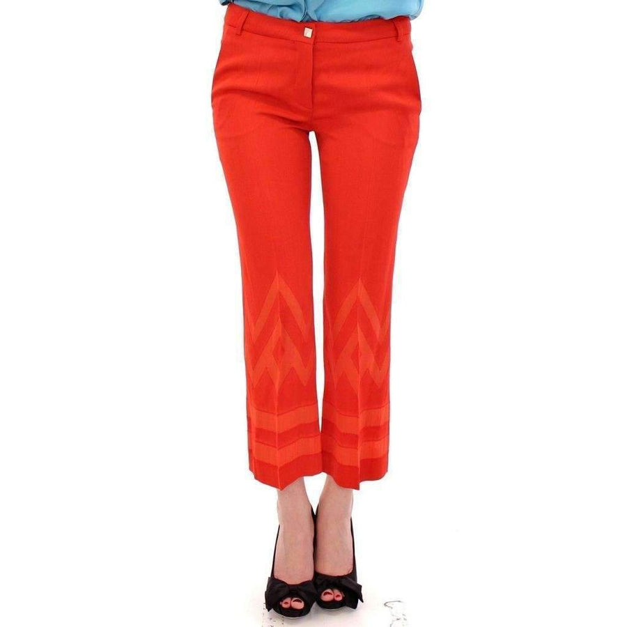 Red Pants Cropped 3/4 Short Nude Capri - Women - Apparel - Denim - Jeans - Versace Jeans | Gethuda Fashion