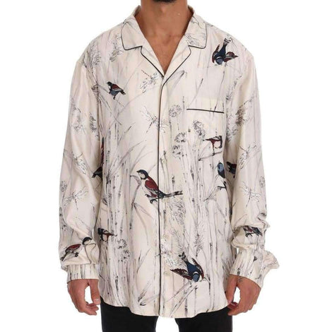 Dolce & Gabbana White Bird Print Silk Pajama Shirt - Men - Apparel - Lingerie And Sleepwear - Pajama Sets - Dolce & Gabbana | Gethuda Fashion