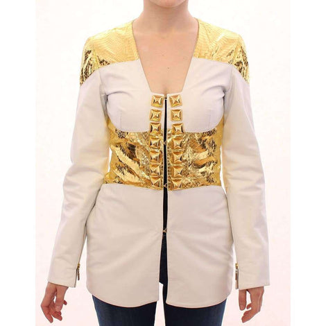 White Gold Metallic Leather Jacket - Women - Apparel - Outerwear - Jackets - Vladimiro Gioia | Gethuda Fashion