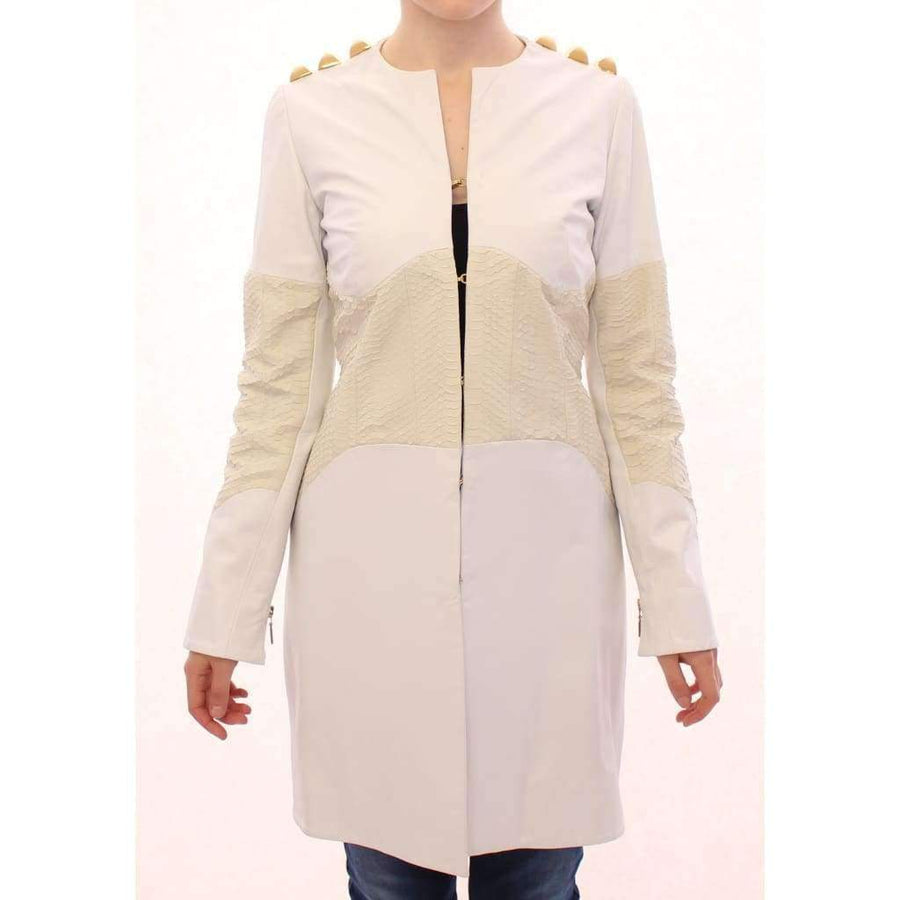 White Leather Long Crocco Jacket - Women - Apparel - Outerwear - Jackets - Vladimiro Gioia | Gethuda Fashion