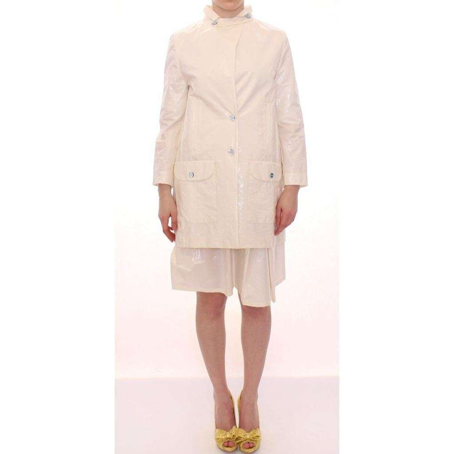 White Viscose Button Front Jacket Coat Trench - Women - Apparel - Outerwear - Jackets - Licia Florio | Gethuda Fashion