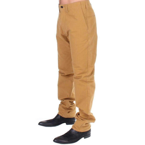 Yellow Cotton Straight Fit Chinos - Men - Apparel - Denim - Jeans - GF Ferre | Gethuda Fashion