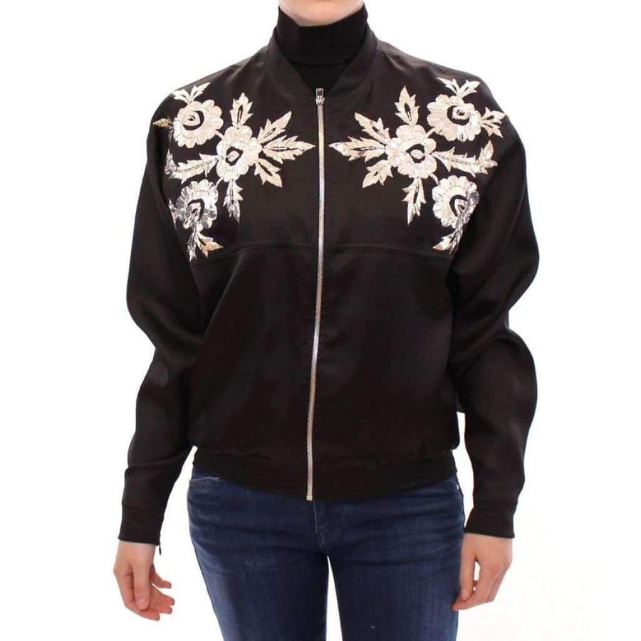 Black silk floral decorated jacket - Women - Apparel - Outerwear - Jackets - Zeyneptosum | Gethuda Fashion
