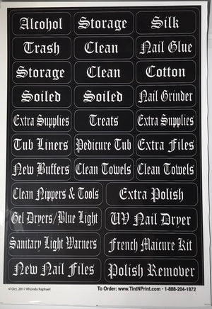 Manicure Station Labels- 3 packs
