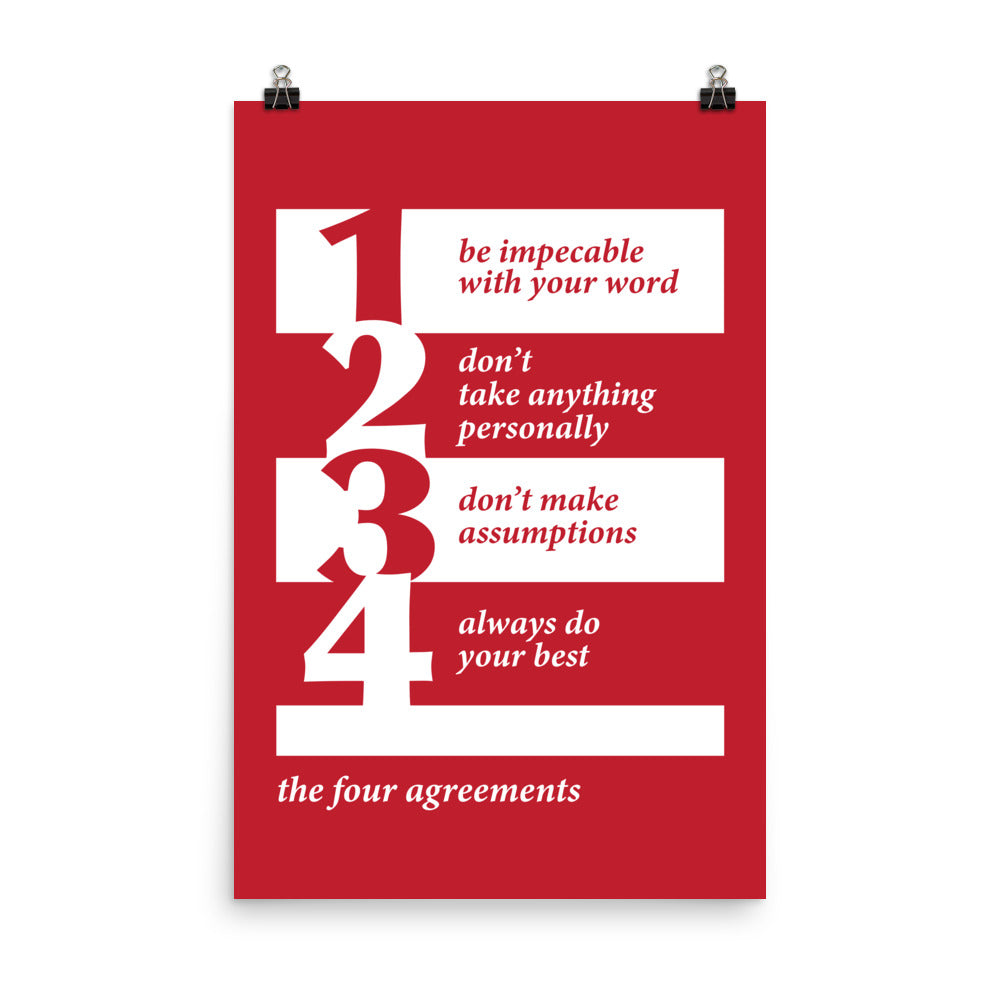 Red Four Agreements Poster - The Solar Republic - Sizes: 18x24, 24x36, 12x16, 12x18 - Enhanced Matte Paper