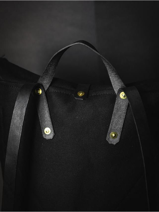 All Black Packpack - Fieldwork Co Waxed Canvas and Leather Hand Made Goods