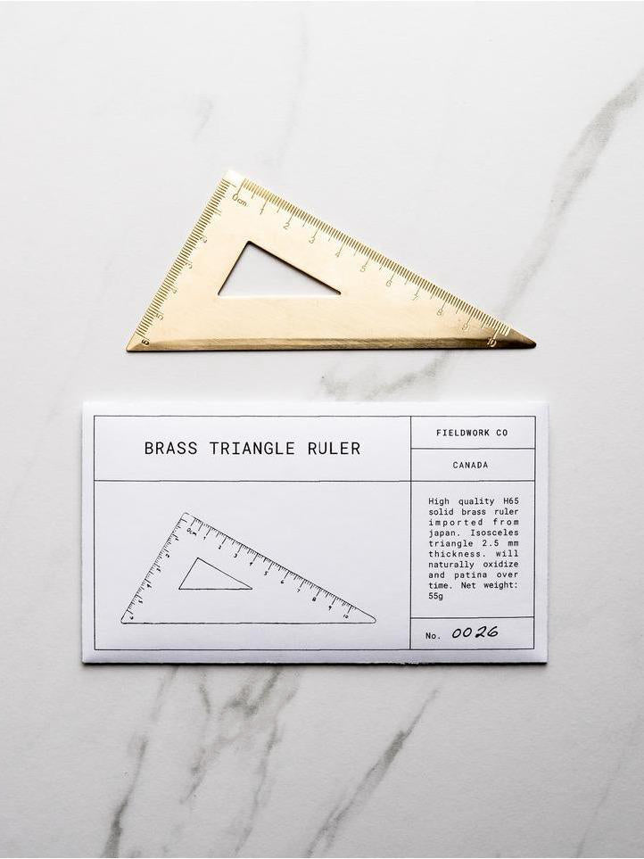 Triangle Brass Ruler - Fieldwork Co Waxed Canvas and Leather Hand Made Goods