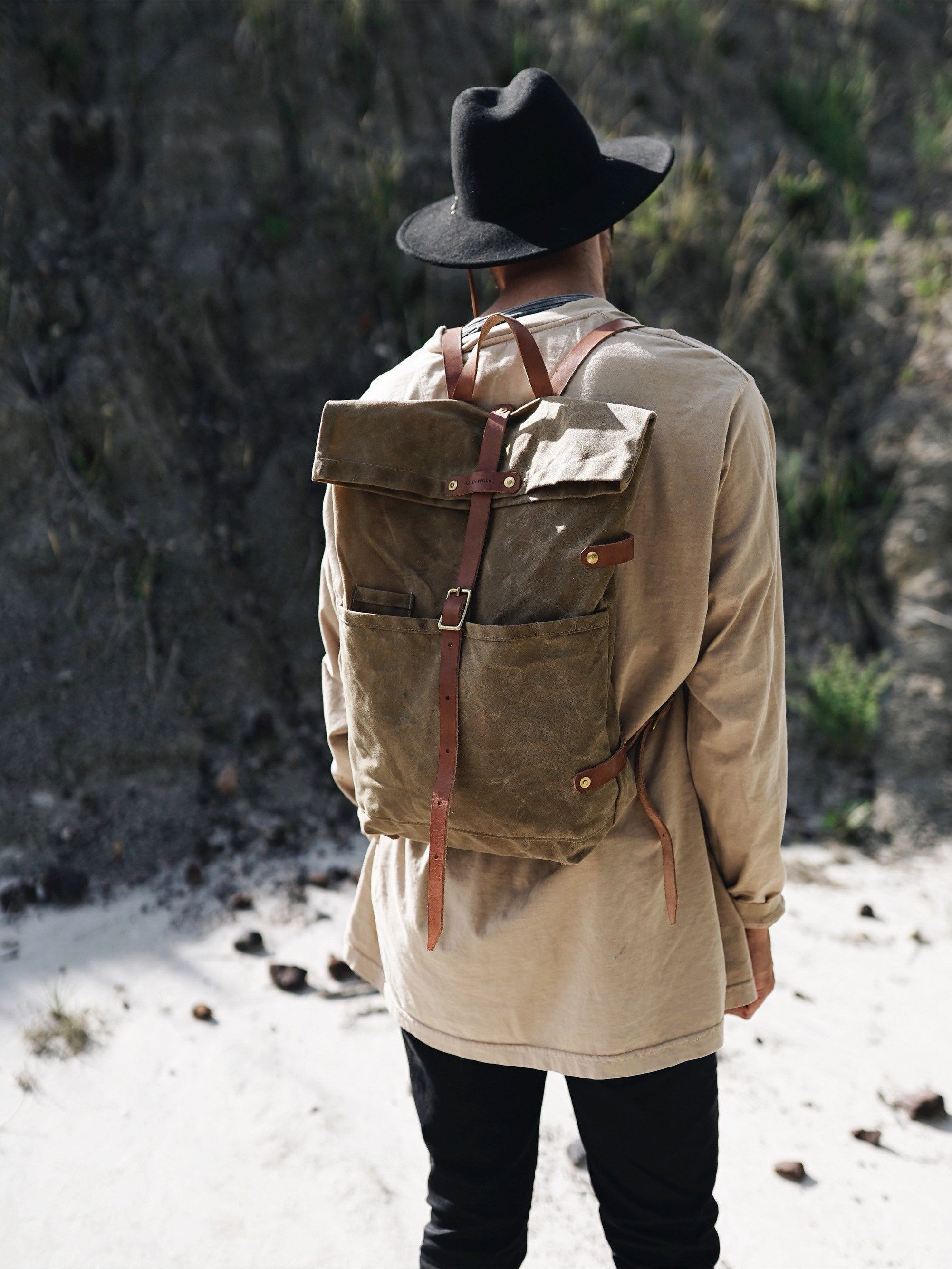 Hudson Bay Backpack - Fieldwork Co Waxed Canvas and Leather Hand Made Goods