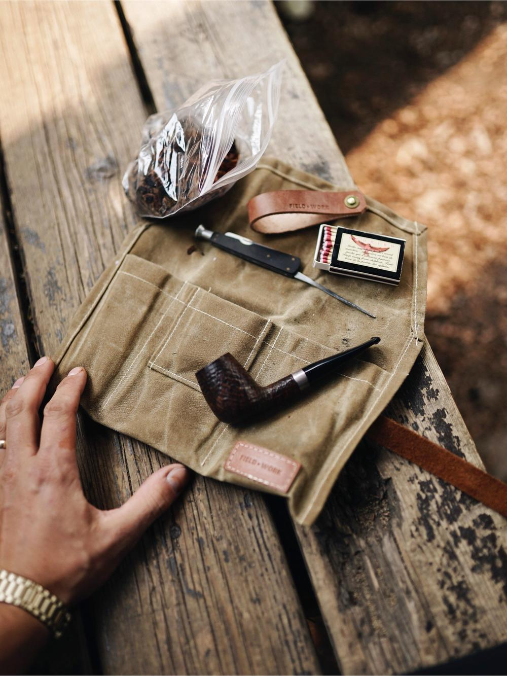 Leather Pipe Stand - Fieldwork Co Waxed Canvas and Leather Hand Made Goods
