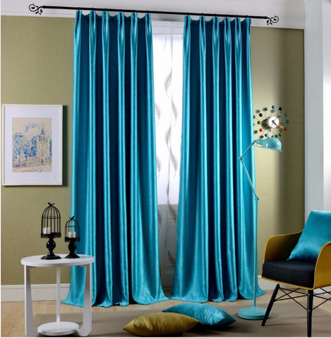 Turquoise blue curtains