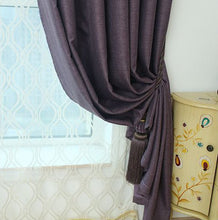 purple blackout eyelet tie back curtains