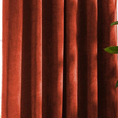Louisiana Red Orange Velvet Curtains