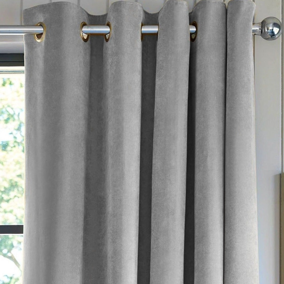 Nordic Light Grey Velvet Curtains