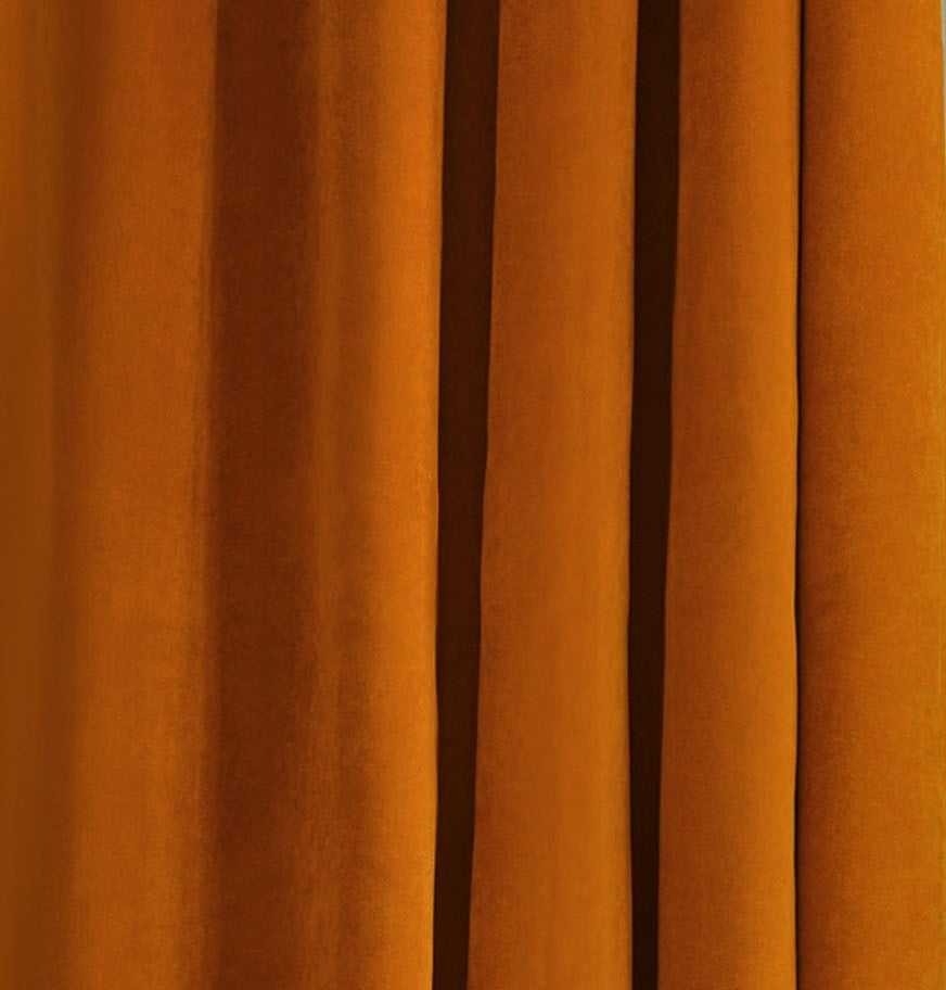 Nordic Brick Orange Velvet Curtains