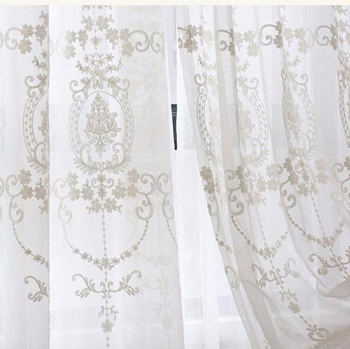 Raye Voile Curtains- Custom Made Embroidered Curtains | Koikaa