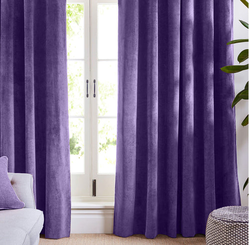 Violet purple velvet curtains
