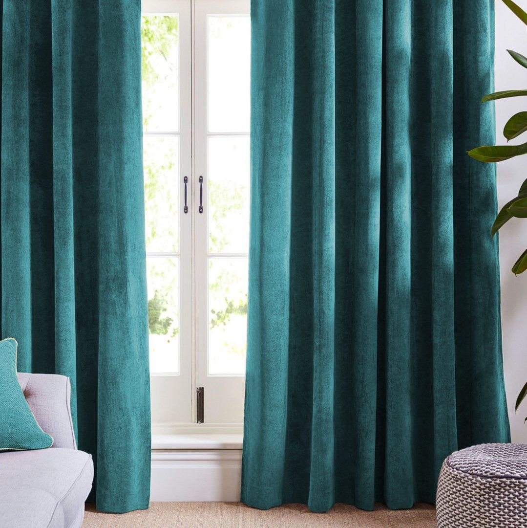 Louisiana Ocean Blue Velvet Curtains