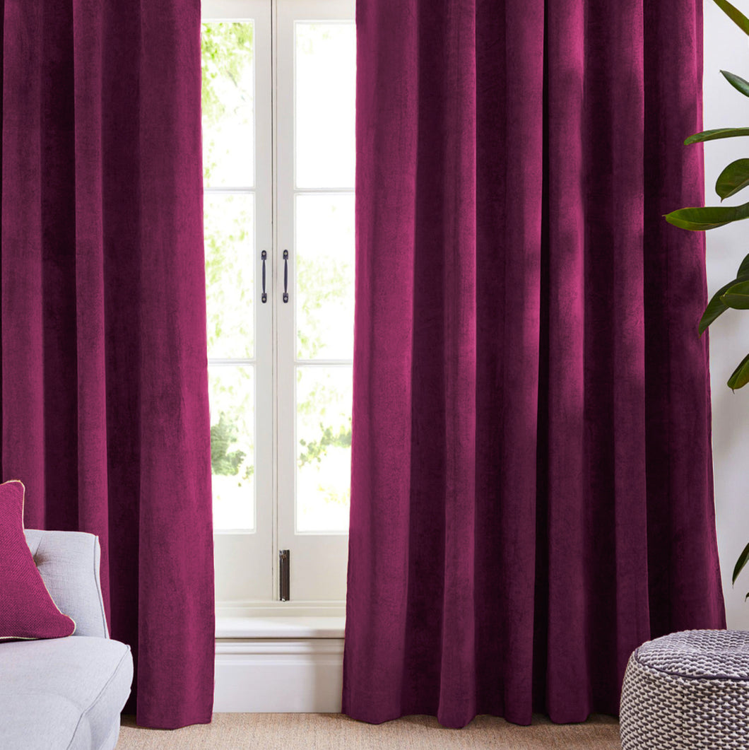 Louisiana Dark Pink Velvet Curtains Blackout Curtains Koikaa