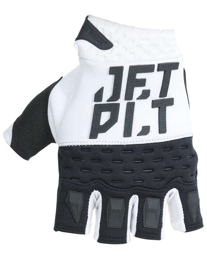Jetpilot RX Short Finger Race Glove - White/Black - 2022 Jetski Gloves - Trojan Wake Ski Snow