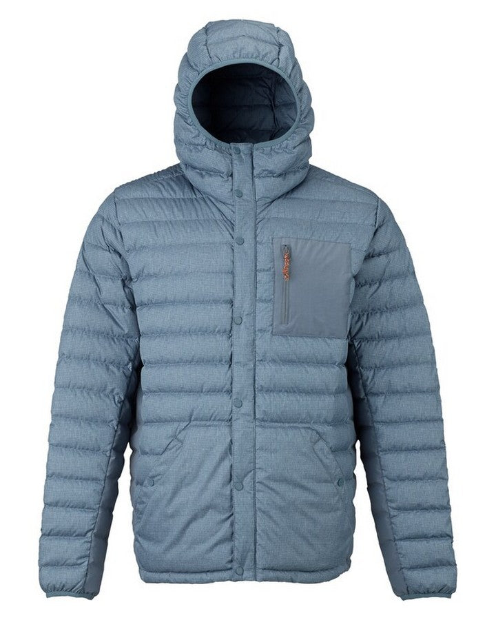 Burton Mens Evergreen Hooded Down Insulated - La Sky Heather Hoodies/Pullovers - Mens - Trojan Wake Ski Snow