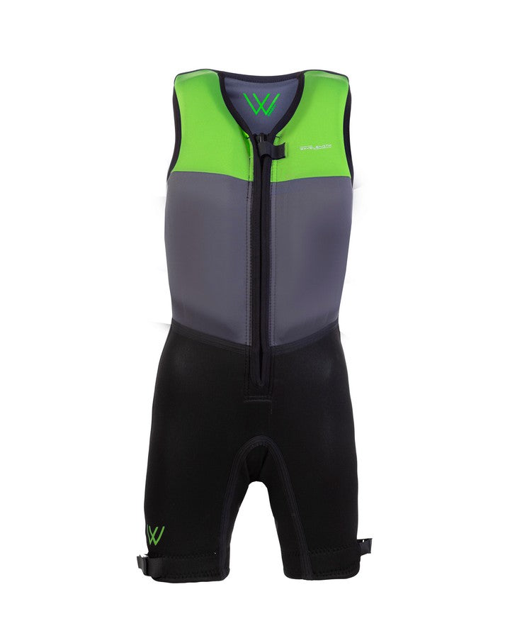 Wavelength Junior Buoyancy Suit - Neon Lime - 2021 Bouyancy Suits - Kids - Trojan Wake Ski Snow
