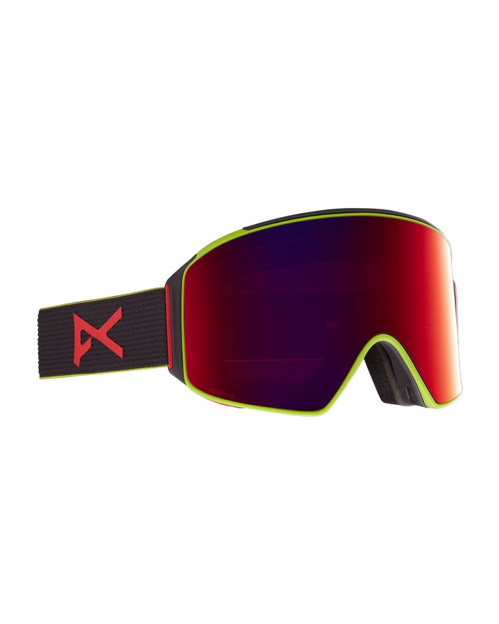 Anon M4 Mens Goggle Cylindrical + Bonus Lens + MFI Face Mask - Black Pop/Perceive Sun Red - 2021