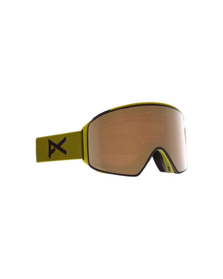 Anon M4 Mens Goggle Cylindrical + Bonus Lens + MFI Face Mask - Green/Perceive Sun Bronze - 2021 Snow Goggles - Mens - Trojan Wake Ski Snow