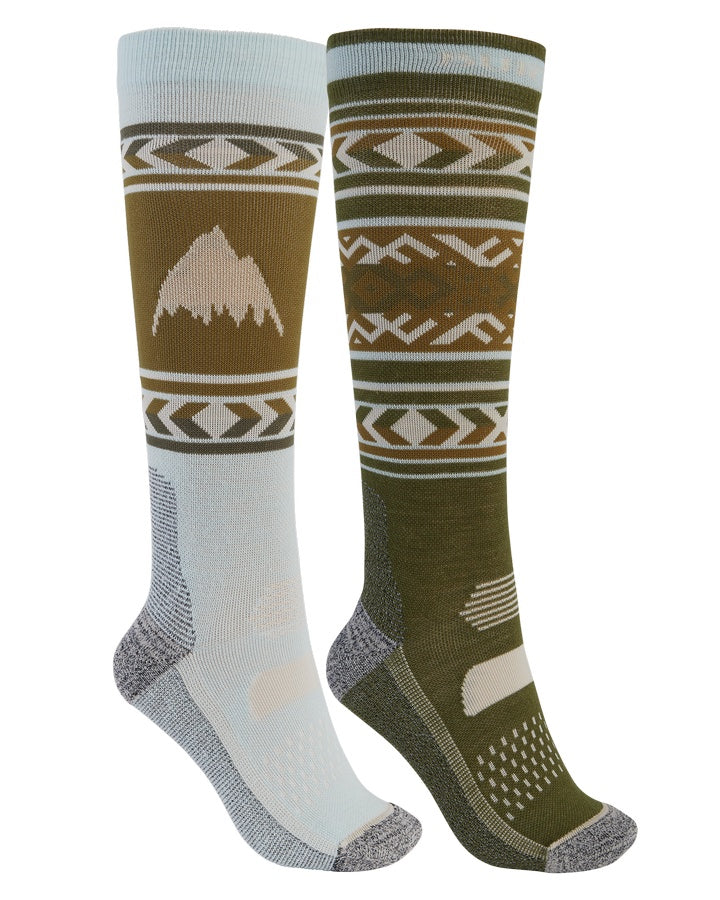 Burton Womens Performance Lightweight Sock 2-Pack - Martini Olive/Ether Blue - 2021 Socks - Womens - Trojan Wake Ski Snow