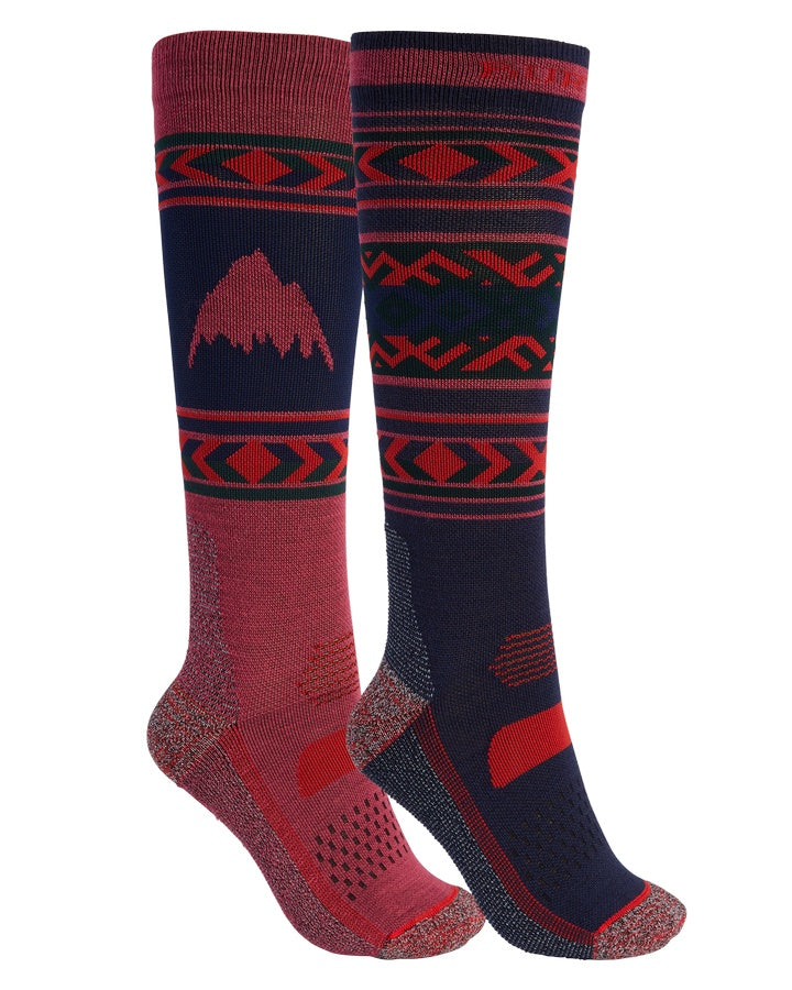 Burton Womens Performance Lightweight Sock 2-Pack - Dress Blue/Spiced Plum - 2021 Socks - Womens - Trojan Wake Ski Snow