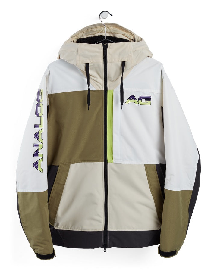 Burton Analog Greed Jacket - Creme Brulee/Martini Olive/Phantom - 2021 Snow Jackets - Mens - Trojan Wake Ski Snow