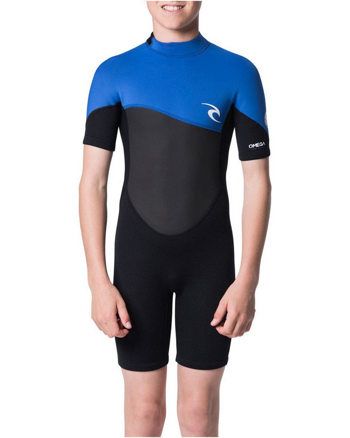 Rip Curl Junior Omega 1.5mm Short Sleeve Wetsuit - Blue/Black SPRING SUITS - KIDS - Trojan Wake Ski Snow