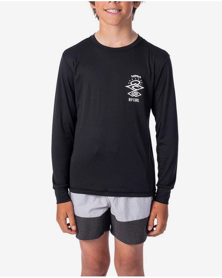 Rip Curl Boys Seach Logo Long Sleeve UC Rash Vest - Black APPAREL - Trojan Wake Ski Snow