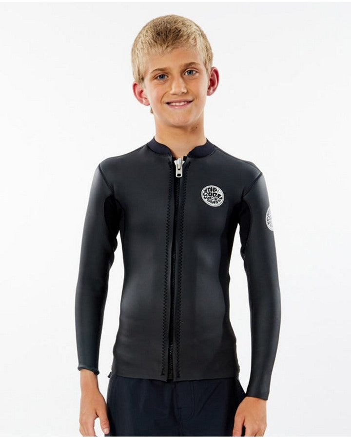Rip Curl Dawn Patrol Long Sleeve Front Zip Jacket - Black - 2021 Wetsuit Tops - Kids - Trojan Wake Ski Snow