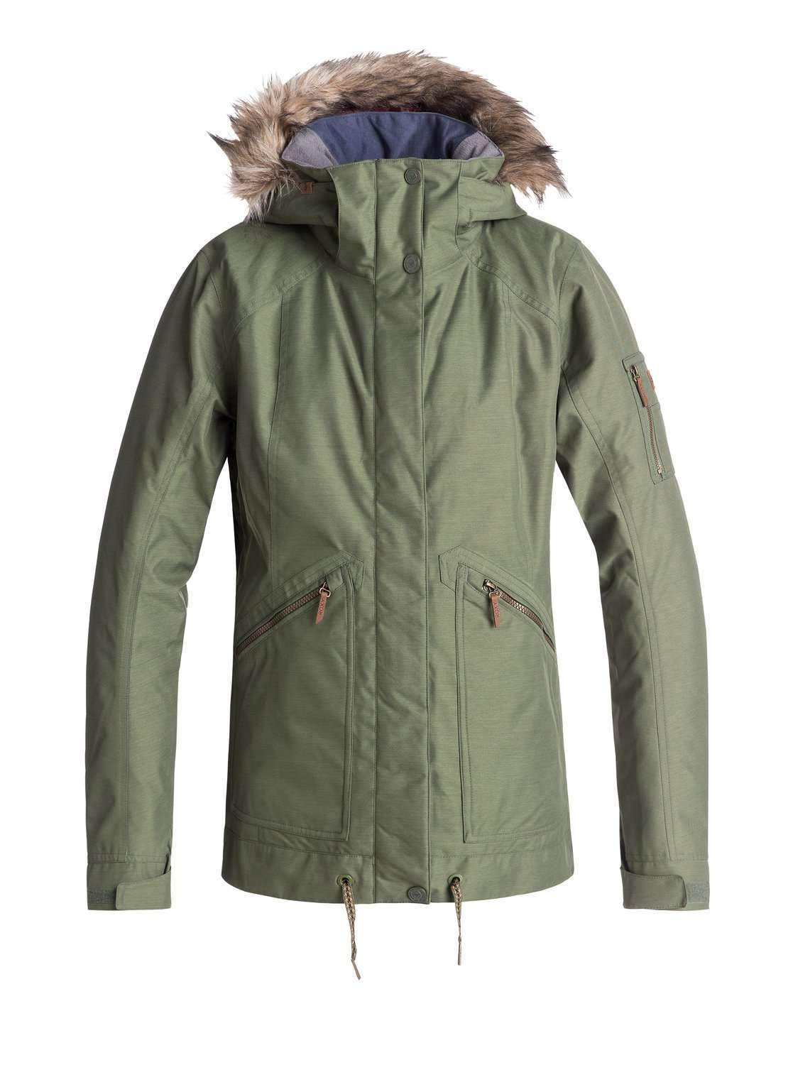 Roxy Meade Womens Snow Jacket Olive-Snow Jacket - Womens-ROXY-S-Trojan Wake Ski Snow