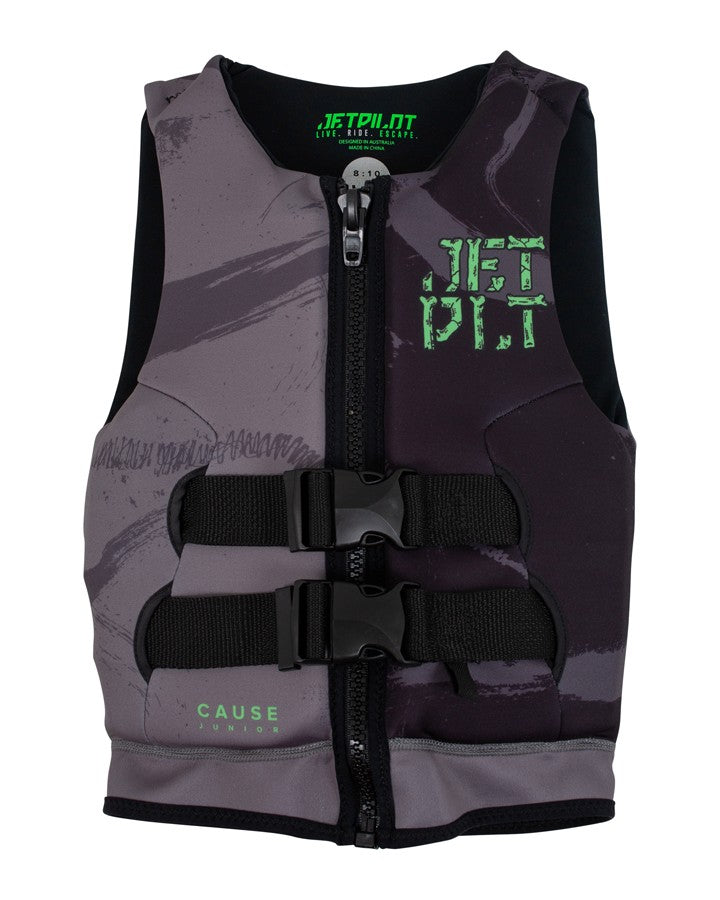 Jetpilot The Cause Youth Neo Vest - Charcoal/Black - 2021 KIDS LIFE JACKET - Trojan Wake Ski Snow