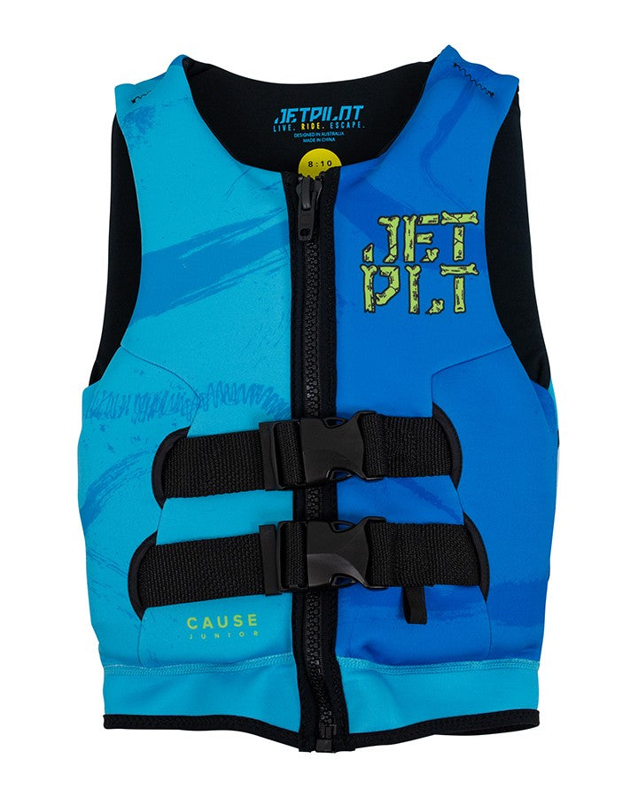 Jetpilot The Cause Youth Neo Vest - Blue/Royal - 2021 KIDS LIFE JACKET - Trojan Wake Ski Snow