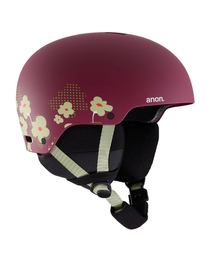 Kids' Anon Rime 3 Helmet  - Flower Maroon - 2020 Snow Helmets - Youth - Trojan Wake Ski Snow