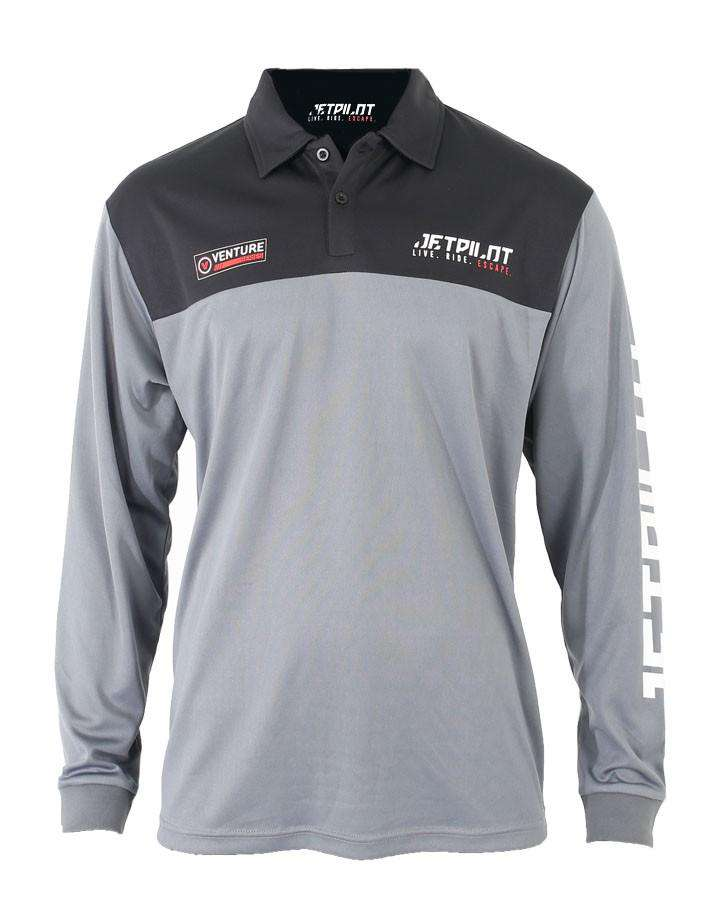 JETPILOT VENTURE MENS LS FISHING SHIRT - BLACK/SILVER - 2020 Apparel - Trojan Wake Ski Snow