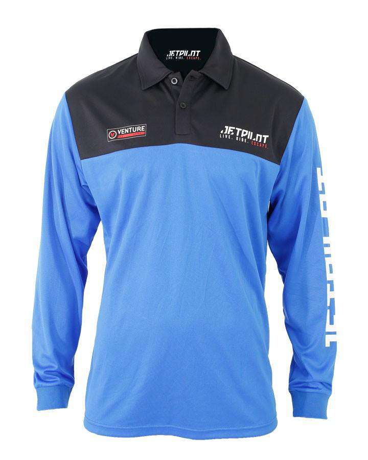 JETPILOT VENTURE MENS LS FISHING SHIRT - BLACK/BLUE - 2020 Apparel - Trojan Wake Ski Snow